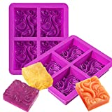 Palksky 2 Pack 4-Cavity Ocean Wave Soap Mold/Silicone Sea Wave Cake Pan for Jelly Pudding Mousse Mould/DIY Handmade Nautical Cloud Swirls Pattern Soap Mold for Goat Milk Soap (3.5 Oz Cavities)
