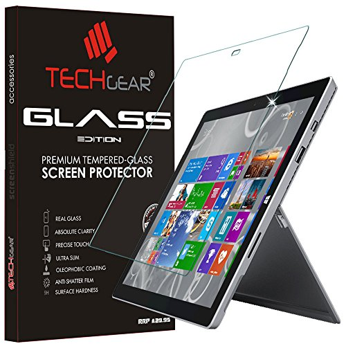 TECHGEAR GLASS Edition fits Microsoft Surface Pro 3 (12' Screen) - Genuine Tempered Glass Screen Protector Guard Cover Compatible with Microsoft Surface Pro 3 12'