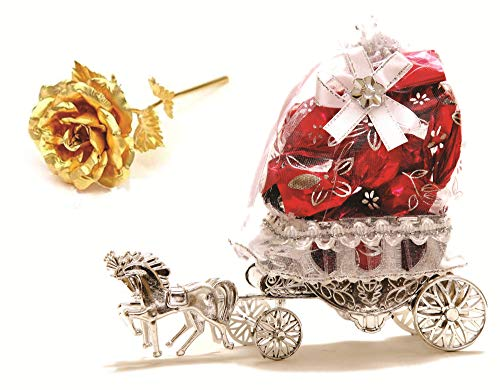 Skylofts Beautiful Horse Chocolate Decoration Piece Gift with 24k Golden Rose Birthday Valentine Gifts for Someone Special