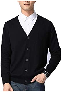 qianqianq Mens V-Neck Knitting Single Breasted Cardigan Long-Sleeve Knitwears