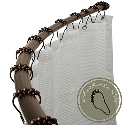 """Adjustable 60"""" - 72"""" Opening Curved Shower Rod and Roller Ball Rings Hooks, Oil Rubbed Bronze"""