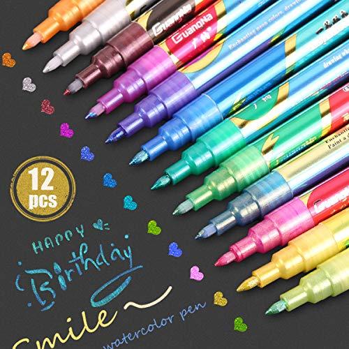 Stylo Paillette, 12 Couleurs Outline stylos, Gel Paillettes, Parfaits pour peinture, d'écriture et Livres de Coloriage Adultes Ou Enfant