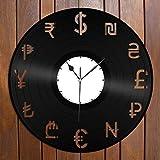 Horloge murale en vinyle avec échange de devises - Cadeau unique pour vos amis - Décoration vintage - Pour bureau, bar, chambre à coucher