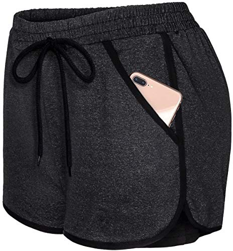 Blevonh Womens Cozy Banded Waist Running Fitness Workout Shorts with Pockets S-XXXL Black-3