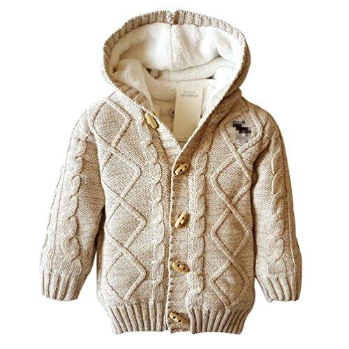 YuanDian YuanDian Baby Stricken Kapuzenpullover Verdicken Korallen Samt Unisex Warme Pullover Khaki 78 (65-80CM)