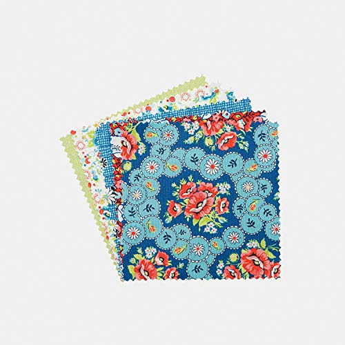 """Connecting Threads Print Collection Precut Cotton Quilting Fabric Bundle 5"""" Charm Squares (Annie"""