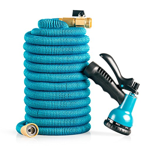 Oasis Expandable, Flexible and Retractable Garden Hose: 50 Foot Lightweight No Kink Hose with Solid Brass Fittings and 8-Pattern High Pressure Spray Nozzle