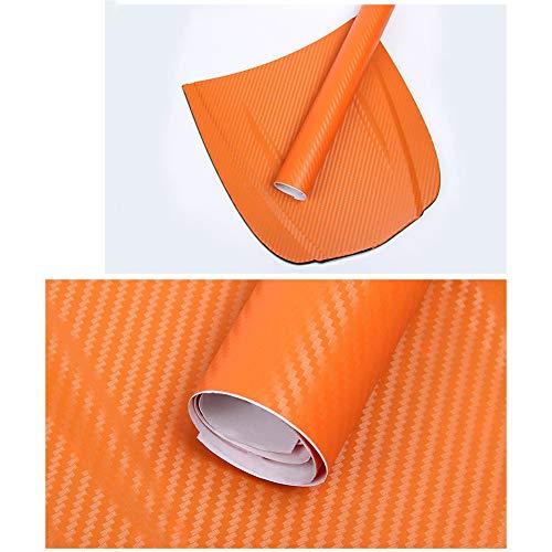 Pellicola Per Auto In Fibra Di Carbonio 3D, Antivegetativa 3D Lucida E Anti-UV Per Auto Adesivi Per Auto Interni Ed Esterni Adesivi Per Protezione Auto (arancione,1.52m*50cm)