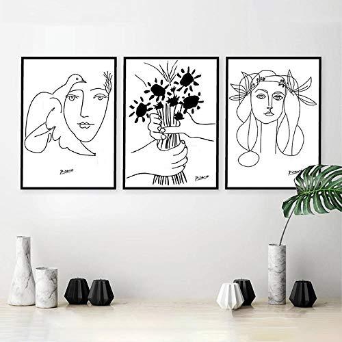 TANYANG Linie Kunst Zeichnung Picasso Leinwand Kunstdrucke Skizzen Frau Bouquet of Peace Malerei Poster Minimalistischen Wandkunst Home Wall Decor 60 * 80Cm*3