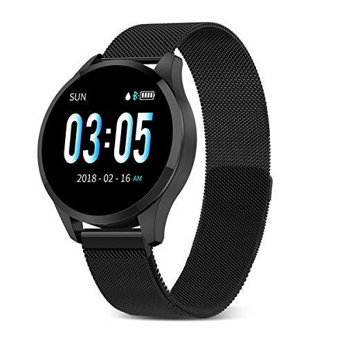 GOKOO Montre Connectée Femmes Homme Montre Intelligente Bluetooth Étanche Bracelet Connecté Cardiofréquencemètre Podomètre Cardio Smartwatch Sport Fitness Tracker d'Activité pour Android iPhone (Noir)
