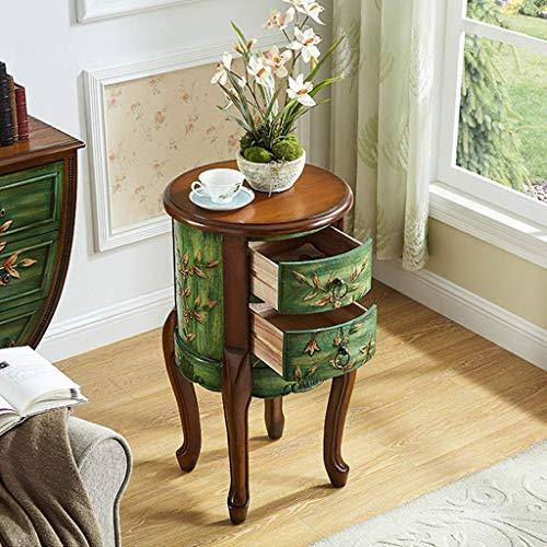XHCP Rubberwood Beistelltisch Akzent Tisch 2 Schubladen Schmaler Nachttisch für Wohnzimmer Sofa Tisch Kleiner runder Retro Beistelltisch für kleine Räume Vintage Akzent Couchtisch (Farbe: Grün)