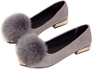 [ファッション メーカ] F&M パンプス レディース シューズ 靴 ポインテッドトゥ スエード調 ファー付き ふわふわ フラット おしゃれ パーティー 結婚式 美脚 全3色 大きいサイズ