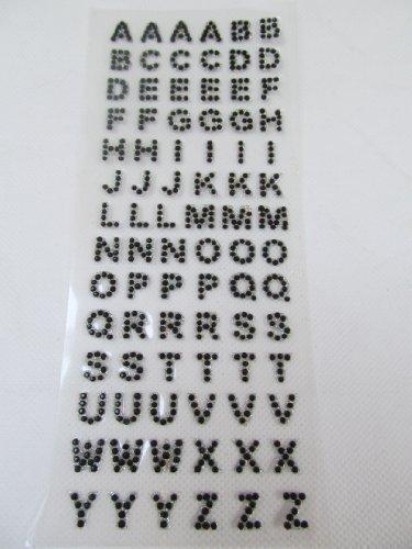 19cm x 8cm Noir Gel Strass corps autocollants de l'art lettres l'alphabet vajazzle stickers aussi pour Loisirs créatifs Enfants Scrapbooks Carte D'anniversaire Mobile phones - par Fat-Catz