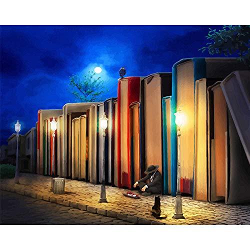 N/O olieverfschilderij door cijfers Kits Late Nachtboek Huis DIY Digitale Olieverfschilderij Canvas Kits voor Kinderen Volwassenen Beginner Tekenen Artwork Schilderijen 16x20inch Frameless