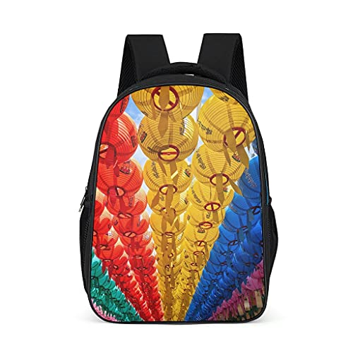 Mochila japonesa colorida linterna de papel cielo diseño Bookbag impermeable Daypack portátil bolsa para hombres mujeres, color, talla Talla única