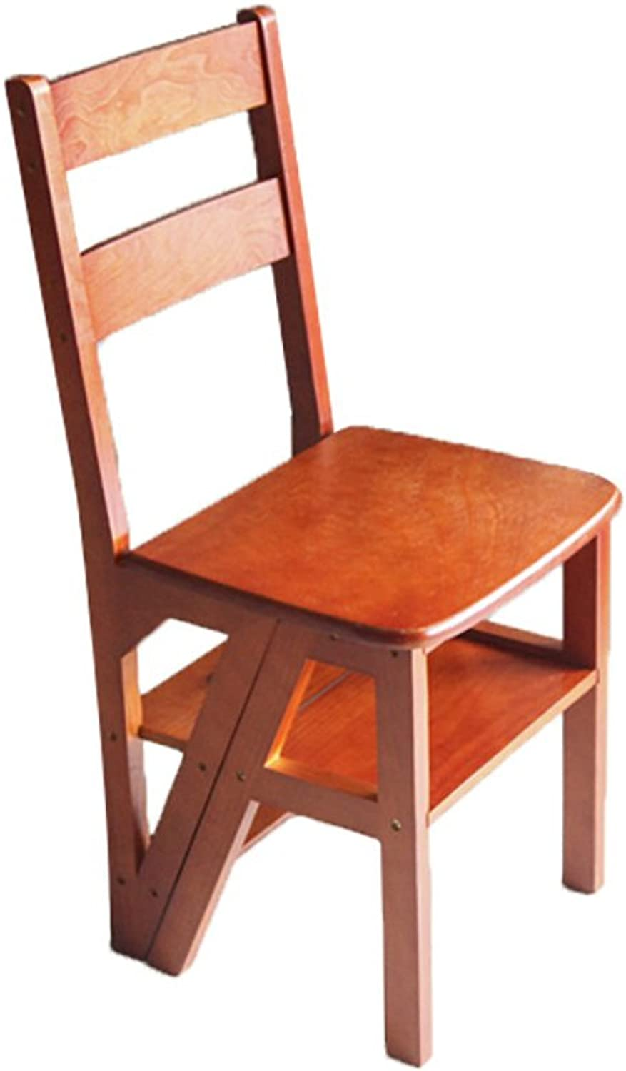 Staircase Stool TH Ladder Stools 4 Tier Step,Ladder Stool, Fold Solid Wood,Indoor Dual Use Step Stool, Multifunction, It Can Move Step Stool (color   Light walnut)