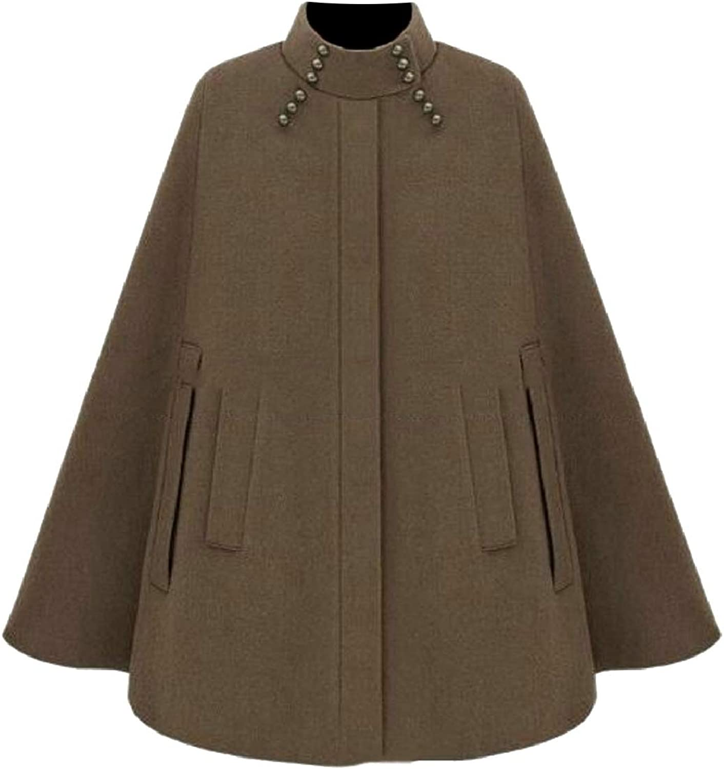 PujinggeCA Woman Stand Collar Cape Cloak Jacket Poncho Trench Coat with Pocket