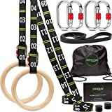 "awegym Gymnastics Rings with Adjustable Straps, 1.1"" Olympic Rings, Gym Rings for Full Body Workout, Calisthenics Rings Exercise Equipment - Home, Outdoor, Crossfit Garage Pull Up Rows Training"