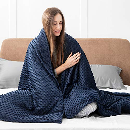 Bedsure Weighted Blanket Queen Size 15 pounds with Removable Duvet Cover (60×80 inches, Navy) - 100% Cotton Weighted Blanket for Adults - 15lbs for Adults Between 140-190 lbs