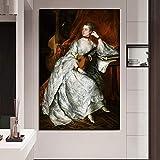 KWzEQ Retro Frau druckt Wohnzimmerdekoration Moderne Wandkunst Ölgemälde Poster Bild auf Leinwand,Rahmenlose Malerei,80x120cm