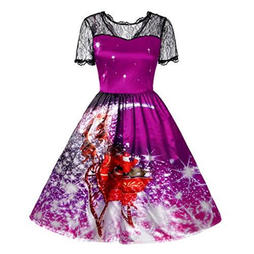 Iusun Women's A Line Dress Christmas Short Sleeve Plus Size Xmas Printing Splicing Lace Cultivation Series Evening Party Vintage Hepburn Skirt