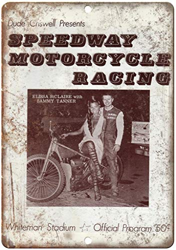 None Brand Dude Criswell Presents Speedway Motorcycle Racing Retro wall decor Metal Tin Sign Painted Art Poster Decoration Plaque Warning Cafe garage party Game Room Door Signs