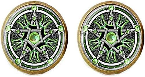Wiccan Pentagram Award Long Beach Mall Cufflinks Pagan Jewelry Religi