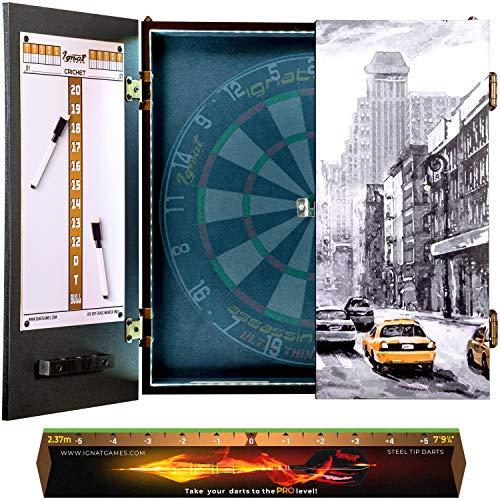IgnatGames - Juegos de Armarios para Diana - Armario para Diana con Nuevo Sistema LED, 2 tableros de puntuaciones magnéticos con marcadores y línea de Lanzamiento - Armario para Dardos con 3 diseños ✅
