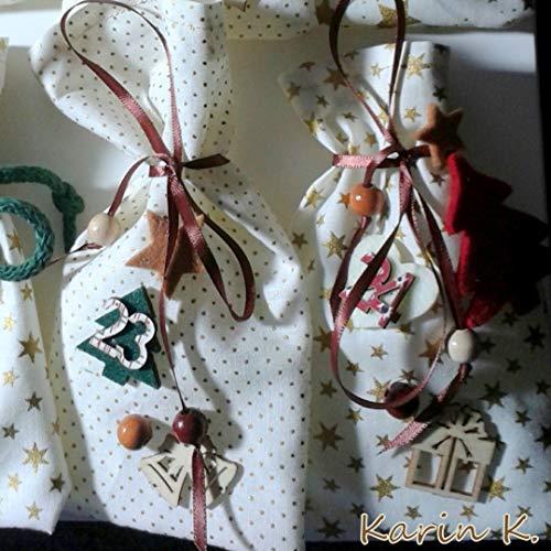 Adventskalender 24 Säckchen mit Häkel- Girlande 210 cm lang Zahlen weihnachtliche Holzteile Filzteile Kordeln Bänder