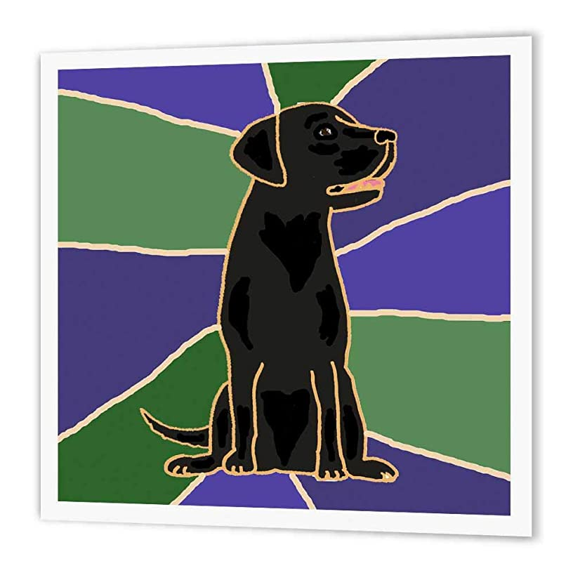 3dRose ht_195124_2 Black Labrador Retriever Art Iron on Heat Transfer Paper for White Material, 6 by 6