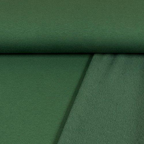 Sweatshirt Stoff Uni tannengrün Sweat weiche angeraute Rückseite einfarbig kuschelig Meterware - Preis Gilt für 0,5 Meter