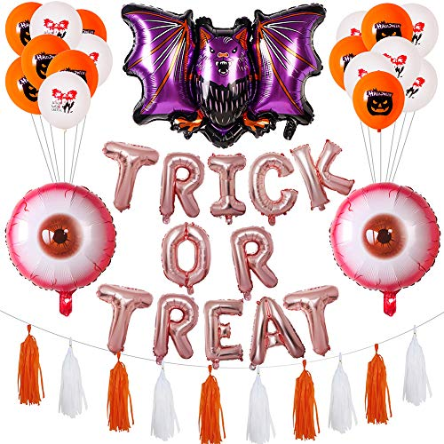 GFQTTY Halloween Decor Supplies Trick Or Treat Banner Set Aluminum Film Balloon Set for Halloween Party Decoration Supplies Include Latex Balloons/Bat Balloons/Blood Eye Balloons/Tassels,Pink