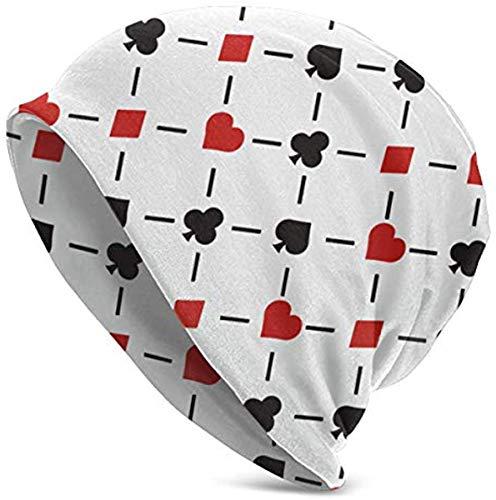 Puerto Rico Map Clubs Diamonds Hearts and Spades Playing Card Beanie Hat para Hombres y Mujeres - Invierno cálido Unisex con puños Lisos Gorro de Punto de Calavera, Negro