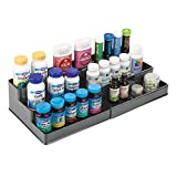 mDesign Adjustable, Expandable Plastic Vitamin Rack Storage Organizer Tray for Bathroom Vanity, Countertop, Cabinet - 3 Shelves - Holds Supplements, Medication - Charcoal Gray