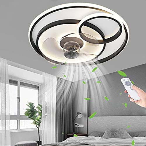 Luz de techo LED Ventilador de techo lámpara silencioso invisible iluminación Control remoto moderno Temporizaciones regulables Luz de techo Comedor Dormitorio Sala de estar Lámpara de techo