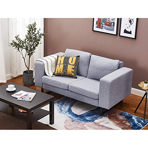 Panana Polyester Linen Fabric Sofa with Iron Feet Modern Soft Corner Couch Settee for Lounge Living Room (Grey, 2 Seater)