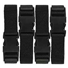 Strong polypropylene strap Quick-release buckle for easy securing and adjustments Easily cut to desired length Each strap measures 72-inches long Includes (4) utility straps with buckles