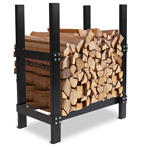 INNO STAGE 3FT Log Holder for Fireplace, Deluxe Lumber Storage, Heavy Duty Wood Storage Log for Indoor/Outdoor Black …