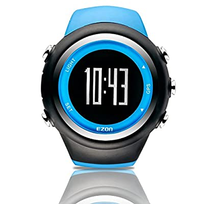 EZON GPS Men Women Sports Outdoor Digital Watch with Exercise Records Distance Speed Pace Black Blue Red Multifunctional