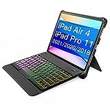 Inateckキーボードケース、iPad Air 4 2020/iPad Pro 11インチ2021/2020/2018((第1、2、3世代対応)、バックライト付き、KB02005ダークグレー