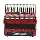 Neufday Instrumento de música de acordeón bajo, Rojo 34 Teclas 48 Acordeón de Piano de...