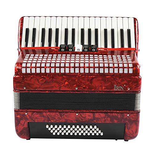 Neufday 【】 Instrumento de música de acordeón bajo, Rojo 34 Teclas 48 Acordeón de Piano de Mano bajo Instrumento de música acordeonista Principiante para Adultos