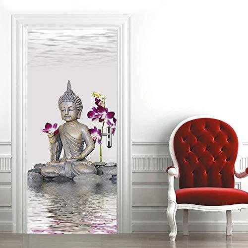 TMANQ Türtapete Selbstklebend Türposter - 77X200CM Buddha-Statue Der Orchidee Der Wasseroberfläche - Fototapete Türfolie Poster Tapete 3D Wasserdichtes Abnehmbare Wohnzimmer Wandtattoos Vinyl Wandbild