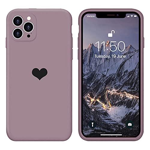 13peas Kompatibel mit iPhone 12 Pro Hülle 6,1''(2020),Herz Motiv Liquid Silikon Gummi Ganzkörperschutz stoßfeste Hülle schutzschale Hüllen Tasche Handytasche Etui für Apple 12 Pro (Lila)