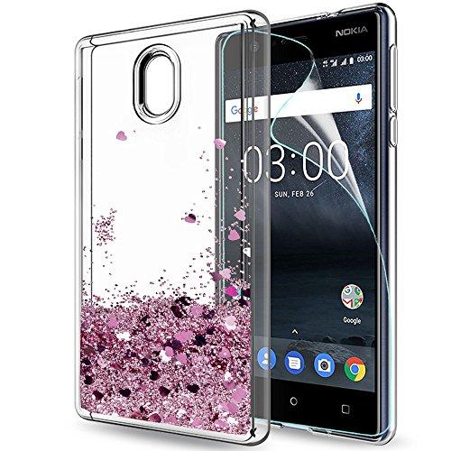 LeYi Hülle Nokia 3 Glitzer Handyhülle mit HD Folie Schutzfolie,Cover TPU Bumper Silikon Flüssigkeit Treibsand Clear Schutzhülle für Case Nokia 3 Handy Hüllen ZX Rot Rosegold