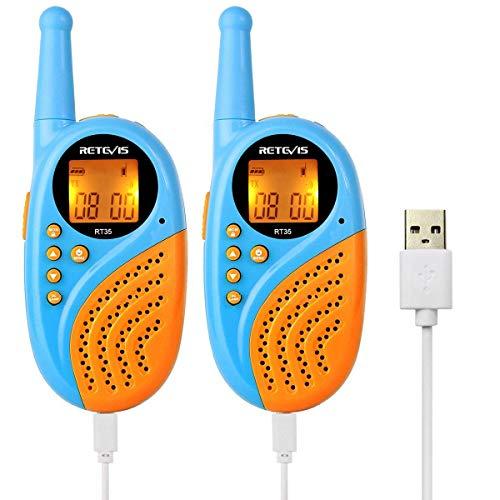 Retevis RT35 Walkie Talkie Niños Recargable PMR446 8 Canales VOX PC Material Anti-Caída 10 Tonos Linterna Reloj Digital Despertador con USB Cable y Baterías (Azul, 1 Par)