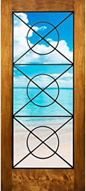 """ETO Doors Spina - Exterior Mahogany Full Lite Entry Door with Exposed Artistic Iron Grill, Unfinished (36"""" x 96"""" x 1-"""