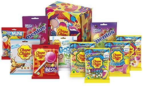 Caja Regalo Bolsas Chupa Chups y Mentos, Caramelos y Golosinas, 10 bolsas (Total 1,348 gr.)