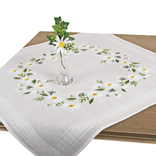 Stickpackung MARGERITENBLÜTEN, Tischdecken Set vorgezeichnet zum Sticken, Blumen Stickset mit Plattstich und Stielstich zum Selbersticken