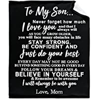 WONDERWON Super Soft Light Weight Fuzzy Throw Blanket (To My Son I Love You Forever from Mom)